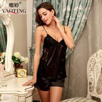 Wholesale Ladies Negligees - Wholesale- 2016 woman sleep lounge slip nightwear femme summer satin pajamas set female black night wear silk sleepwear lady lace negligee