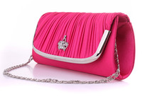 Wholesale Silver Prom Handbags Clutches - Women Evening Bag Clutch pinkycolor bag Stain Pleated style dropship Handbag Luxury oblong-shaped Bag prom Party bag Princess bag five color