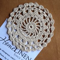 """Wholesale Embroidered Placemat - Wholesale- Vintage Cup mat Handmade Crochet Placemat Round Embroidered Crochet Doilies Home Decor Coaster 11cm(4.33"""")"""