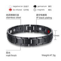 Wholesale bracelet energy cuff online - Beichong Fashion Health Energy Bracelet Bangle Men Black Jewelry Titanium Stainless Steel Bio Magnetic Bracelet For Man