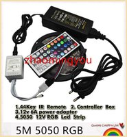 Wholesale Diode Rgb Led - YON 5050 LED Strip RGB 5M 300 LED IP20 Led Diode Tape Waterproof +44key Remote+ 6A Power Adapter For Home Garden Decoration