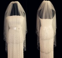 Wholesale Wedding Veil Tier Beaded - New 2 Tiers White Ivory Wedding Veils Fingertip Length Bridal Veil Crystal Comb
