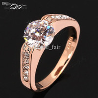 Wholesale Three Finger Diamond Ring - Classic Designer CZ Diamond Wedding Finger Ring Wholesale 18K Gold Plated Vintage Engagement Jewelry For Men and Women DFR309