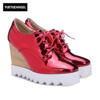 Lackleder Frau Schuhe Super High Heel Casual Night Club Wedges Plattform Creepers Schnürsenkel Quadrat Zehat Mujer Pumps