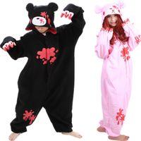 terno animal anime venda por atacado-Barato DHL Pijamas Preto Rosa Sombrio Urso Polar Quente Velo Japão Anime Moda Onesie Pijama Animal Ternos Cosplay Adulto Garment Jumpsuit