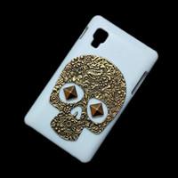 Wholesale Lg L4 Ii Cover - Cover Case for LG Optimus L4 II E440, 3D Retro Vintage Bronze Metallic Skull Skeleton Punk Stud Rivet Spike Back Hard Protective Skin Shell