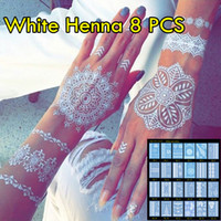 Wholesale temporary foot ankle tattoos - 8pcs lot White Henna Tattoo Non-toxic Temporary Tattoo Luxuriant Sexy Jewelry & Body Tattoo! New Trending Wedding Henna Tattoos!
