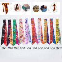 Wholesale Wholesale Neck Silk Scarves - Women Scarf Printed Handbag Silk Ribbon Wraps Bandanas Bow Hair Bands Decoration Headband Neck Decoration 10 Style 1000pcs OOA2706