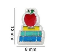 Wholesale Slide Charms Apple - 20pcs lot Apple Book Floating Locket Charms DIY Alloy Accessories Fit For Living Magnetic Memory Glass Floating Locket