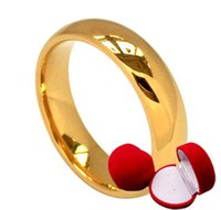 gold ringe 24k frauen großhandel-glasurgelber hochzeitsring für männer frauen mit box, 24 karat vergoldet heiraten braut party schmuck zubehör, männliche ringe