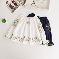 Wholesale Kids Blouse Embroidery - Everweekend Kids Girls Embroidery Flowers Ruffles Fashion Tops Baby Girls Autumn Blouse Western Tops Clothing