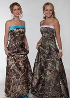 Wholesale Prom Camouflage Dresses - Cheap Camo Bridesmaids Dresses Long Strapless Sheath Floor Length Camouflage Prom Dress Satin Wedding Party Events Bridesmaid Dresses Kleid