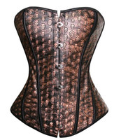 Wholesale Sexy Animal Halloween Costumes - Wholesale-Faux Leather Sexy Brown Overbust Corset with Skull Print Halloween Pirate Costume Dancer Top Plus Size S-6X