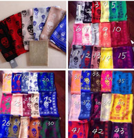 Wholesale Pashmina Brand Scarves - 61 colors brand designer skull scarf for women and men Best quality 100% pur silk satin fashion women luxury brand scarves pashmina shawls