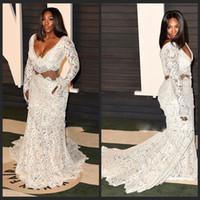 Wholesale Serena White Dress - Mandy 2016 Oscar Serena Williams Sexy Princess V-neck Court train Prom Dresses Lace Flower White vestido de festa Celebrity Dress