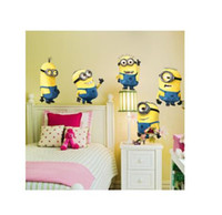 Wholesale Minions House - Art Decals MINIONS Removable Animal Cartoon wall stickers for kids rooms DIY Child Wallpaper 3D House Decoration