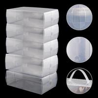 Wholesale Trunks Transparent - 5 X Shoes Wrapped Plastic Transparent Fashion Storage Box Drawer Type Plastic Shoes Box Drawer Storage
