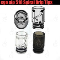 Wholesale vape dripper tanks for sale - Group buy 510 spiral Drip Tips helical airflow ego AIO atomizer vaporizer wide bore dripper tip e cigs cigarette RDA tank vape pen Dripping Mouthpiece