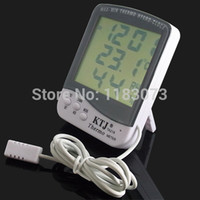 Wholesale Lcd Outdoor Thermometer Hygrometer - Big LCD Indoor Outdoor Thermometer Hygrometer MAX-MIN Thermo Tester Household Clock Weather Stations With1.5M Sensor Probe Free Shipping