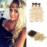 Wholesale black honey blonde ombre for sale - Bella Hair A Body Wave Black Root with Honey Blonde Human Hair Weave Bundles and Closure with Baby Hair Ombre b Extensions