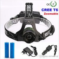 Wholesale Super bright CREE XM L T6 LED Lumens Rechargeable ZOOM CREE Headlight LED Headlamp x18650 Battery mAh Charger