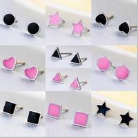 Wholesale Black Enamel Earrings For Women - 100% 925 Sterling Silver Five-pointed Star Heart Triangle Stud Earrings for Women Fashion Genuine Jewelry Cute Black&Pink Enamel Party Gift