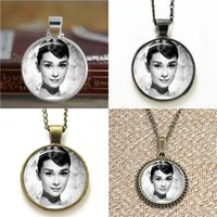 Wholesale famous pendants resale online - 10pcs Audrey Hepburn Twentieth Century Famous Actress Pendant glass cabochon dome Necklace keyring bookmark cufflink earring bracelet