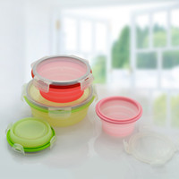 Wholesale One Savings - Round Silicone Lunch Box Keep Fresh Foldable Bento Boxes Space Saving Resistance To Fall Lunchbox Fashion 14 6sy3 B R