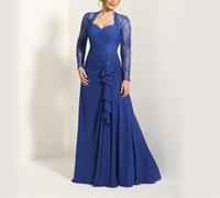 ingrosso bride dress front back-Sweetheat maniche lunghe Applique Royal Blue Chiffon Abito per la madre della sposa Increspature Front Keyhole Back A-line Maid Dresses