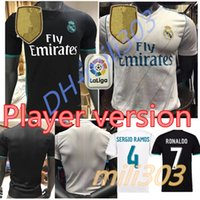 Wholesale Soccer Player Jersey - AAA+ 2017 2018 Player version Real madrid Soccer Jersey 17 18 Benzema Ronaldo football Modric Kroos Sergio Ramos Bale james black shirts