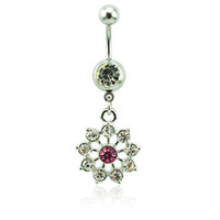 Body Piercing Belly Button Rings Acier chirurgical Barbell Dangle Blanc Rhinestone Flower Navel Ring For Women Jewelry