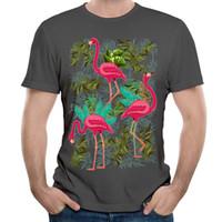 Wholesale Dandy S - Unique Dandy Style Tshirt Men's Trendy Print Tee Shirt Crew Neck Classic Carbon Male Short Sleeves Clothing Pink Flamingos Exotic Birds