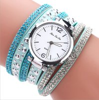 Wholesale Wholesale Drilled Quartz Leather - Europe and the United States trendy ladies fashion table full of drill rivets fine scale time watch brand female models watches