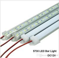 iluminación de tira de aluminio al por mayor-Barra de luces LED DC12V 5730 Tira rígida LED Tubo LED con carcasa de aluminio U + cubierta de PC Blanco cálido Blanco frío Blanco