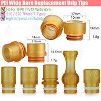 Wholesale Ego Big - New PEI Drip Tip Wide Bore POM 7Types MouthPiece Replacment Atomizers 810 SMOK TFV8 TFV12 Big Baby Beast Tank 510 Melo Ego Aio RDA RTA tips