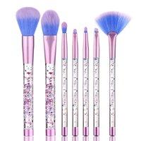 Wholesale Wholesale Crystal Cosmetic Brushes - 7pcs set Mermaid Makeup Brush Set Quicksand Crystal Liquid Handle Cosmetics Brushes Powder Eyeshadow Foundation Make up Tool X070-1