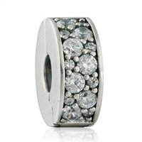 Wholesale Clip Lock Beads Round - 2017 Autumn New Clear CZ Pave Stopper Lock Clip Charm Beads 925-Sterling-Silver Fine Jewelry DIY Accessories Fit Beads Bracelet Making