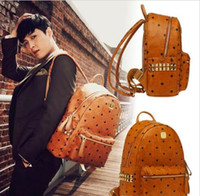 Wholesale Ladies Sport Backpack - 2016 New Arrival Fashion School Bags Hot Punk style Women Backpack Rivet Crown Student Backpack PU Leather Lady Bags Leather Men Backpack
