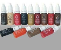Wholesale Permanent Make Up Pigments - Wholesale-Free shipping 10pcs permanent Makeup tattoo ink pigment 15ml bottle for eyebrow make up 20 colors for choose