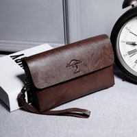 Wholesale Cell Phone Hand Wrist - 2017 Brand Men Leather Hand Bags Wallet Business Wrist Clutch Bag Handbag Wallet Organizer Vintage Brown Checkbook Phone Wallets