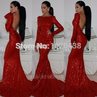 2018 New Fashion backless Sparkly collo alto con paillettes Mermaid Red Prom Dresses Maniche lunghe Sexy lungo abito da sera formale