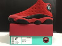 Wholesale Chinese Wing Shoes - 2016 Retro 13 Bright Red Wings SNGL DY Men's Basketball Shoes for Perfect Quality Airs 13s Chinese Singles Day Sports Sneakers Size 41-47.5