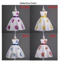 3d lycra großhandel-Mode Baby Kinder Mädchen SleeveLess 3D Blume Bogen Zeremonien Party Lange Kleider für Mädchen Tüll kinder Prinzessin Brautkleid Mädchen Kleid