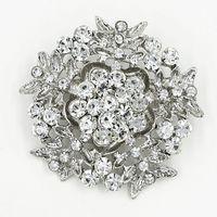 Wholesale Snowflake Brooches Vintage - Vintage Silver Rhodium Plated Stunning Clear Crystal Rhinestone Luxury Big Snowflake Brooch Wedding Flower Brooch Pin For Bridal