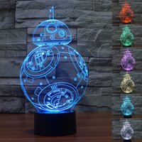 Wholesale China Wholesale Star Wars - Star Wars 3D Night China Led Lights Toys Kids Lighting The Force Awakens BB-8 Droid Robot LED Lights 3D Colorful Light Touch Lamp