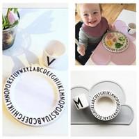 Wholesale Dish Child - Baby Feet Plate Kids Boys Girls Dinner Dishes Infant Children Plate INS letter print Dinnerware For Child Bowl Tableware LJJK567
