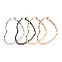 Wholesale Love Hoop Plating Earrings - Romantic Love Heart Hoop Earrings For Women Stainless Steel Large Round Wedding Earrings Women Jewelry Gift