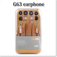 Wholesale Iphone Inear - High quality G63 wire stereo hi-fi earphone sports bass inear in-ear headphone for samsung iphone 6 6s with retail package dhl free