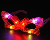 Wholesale Heart Shaped Glow Glasses - Gags & Practical Jokes Colorful glowing glasses Heart-shaped pentagram butterflies flash glasses Bar concert mask