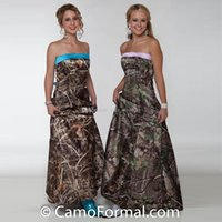 Wholesale prom camouflage dresses - 2017 Elegant Strapless Camo Prom Dresses Camouflage Country Evening Party Dresses Custom Made Blue Pink Ankle Length Cowgirls Prom Dresses